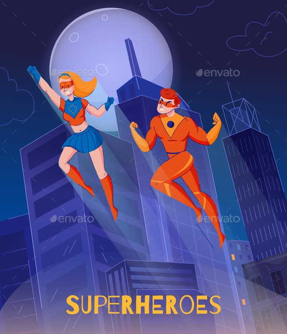 Superheroes Background Poster - Backgrounds Decorative