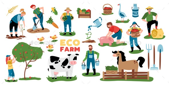 Domestic Farm Elements Collection - Animals Characters