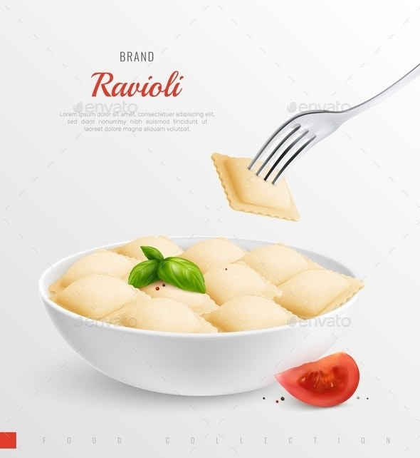 Ravioli Realistic Composition - Food Objects