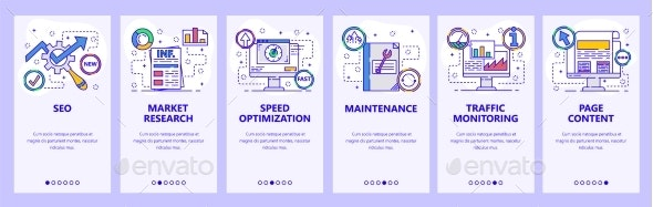 Mobile App Onboarding Screens SEO and Speed - Web Elements Vectors