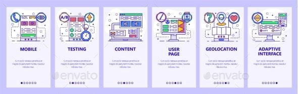 Mobile App Onboarding Screens Software - Web Elements Vectors