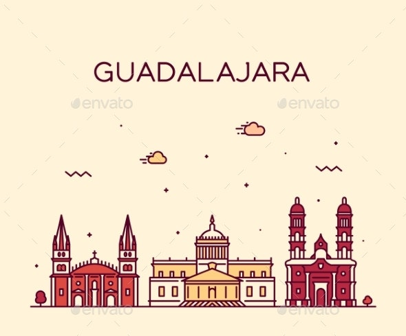 Guadalajara Skyline Jalisco Mexico a Vector Linear - Buildings Objects