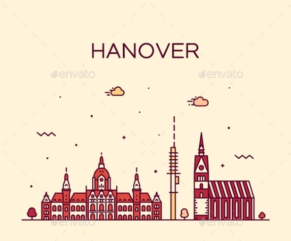 Hanover Skyline Lower Saxony Germany Vector Linear - Buildings Objects