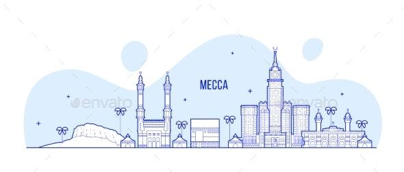 Mecca Makkah Skyline Saudi Arabia Big City Vector - Buildings Objects