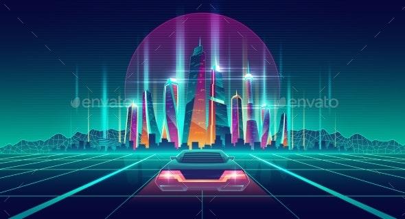 Virtual Metropolis in Digital Simulation Vector - Buildings Objects