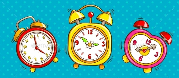 Pop Art Alarm Clocks Set on Half Tone Background - Miscellaneous Vectors