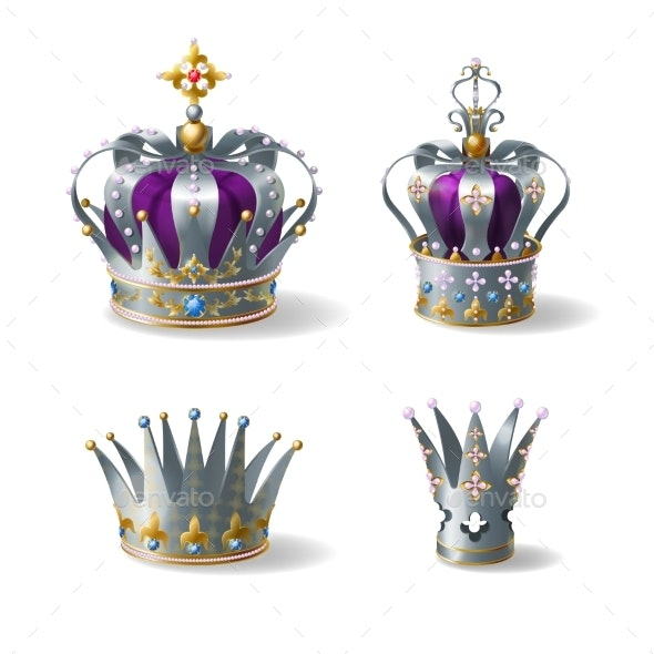 Silver Royal Crowns Realistic Vector Set - Miscellaneous Vectors