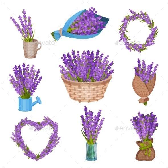 Set of Lavender Flower Arrangements - Flowers & Plants Nature