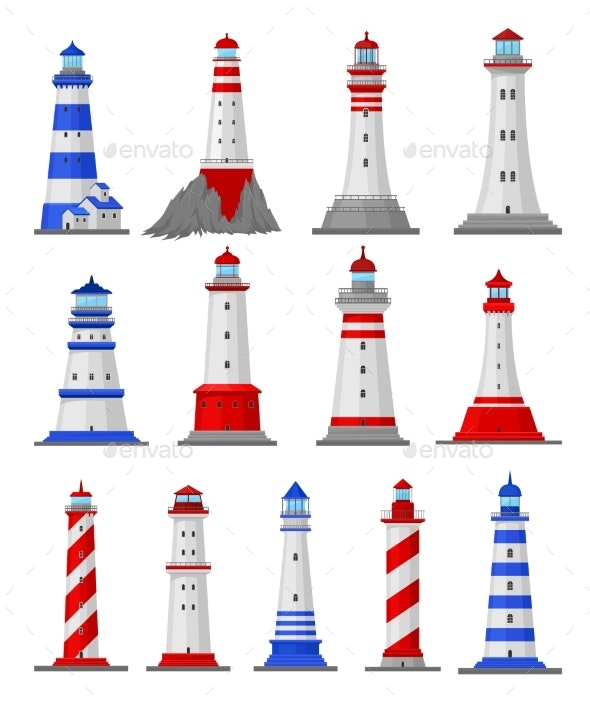 Set of Lighthouse Illustrations - Buildings Objects
