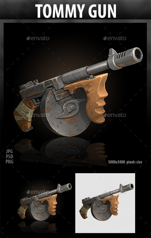 Tommy Gun - Objects Illustrations