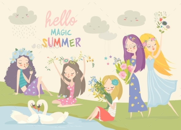 Collection of Beautiful Girls with Summer Flowers - People Characters