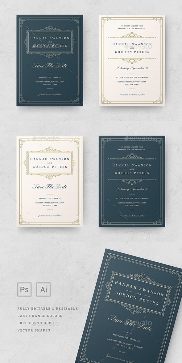 Wedding Invitations Cards Templates By Provectors Graphicriver