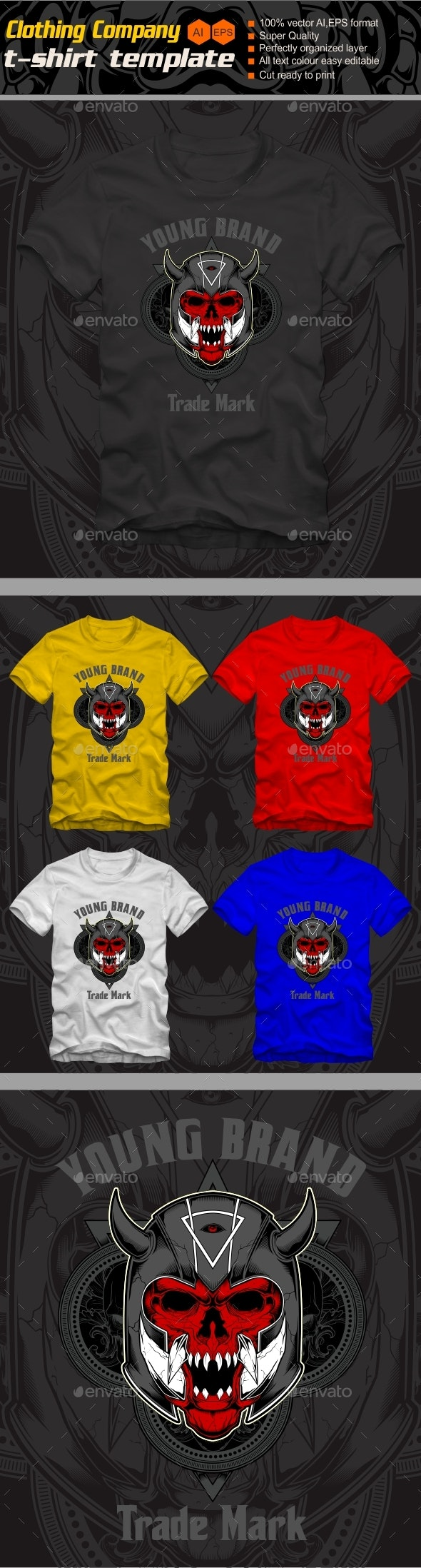 demon wearing helmet gladiator t shirt - Grunge Designs