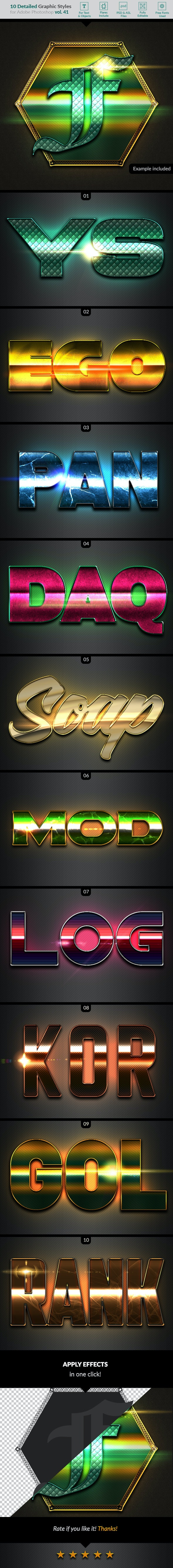 10 Text Effects Vol. 41 - Styles Photoshop