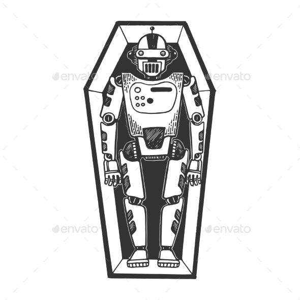 Humanoid Dead Robot in Coffin Sketch Engraving - Computers Technology