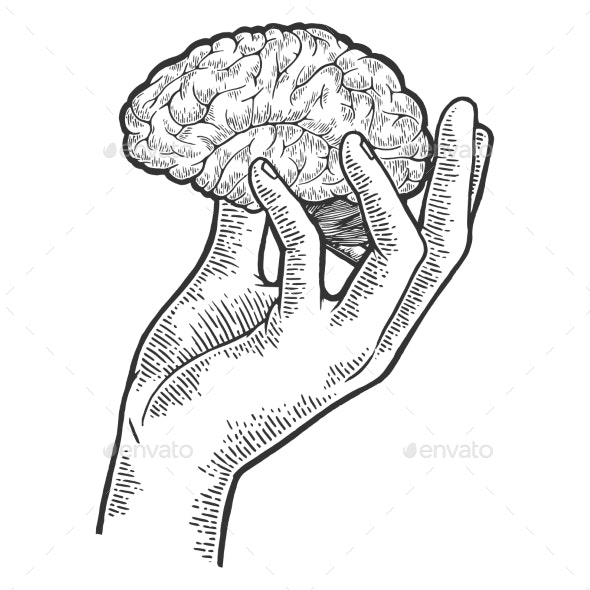 Human Brain in Hand Sketch Engraving Vector - Miscellaneous Vectors