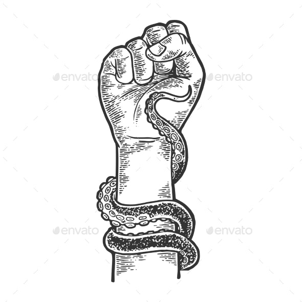 Octopus Around Human Hand Sketch Engraving Vector - Animals Characters