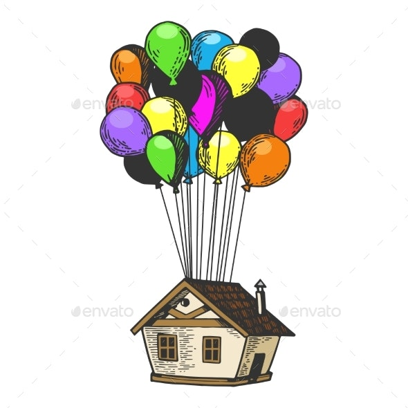House Flying on Balloons Color Sketch Engraving - Miscellaneous Vectors