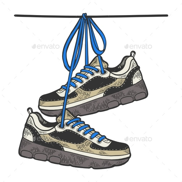 Sneakers on Wire Sketch Color Engraving Vector - Man-made Objects Objects