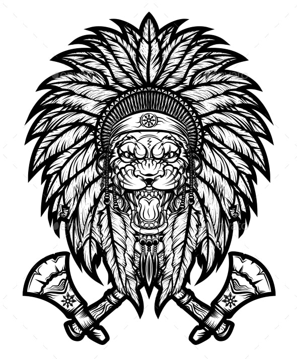 Emblem of a Warrior - a Shaman From America - Animals Characters