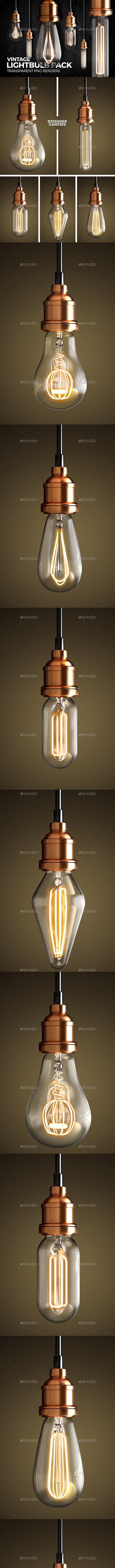 Vintage Lightbulb Renders Pack - Objects 3D Renders