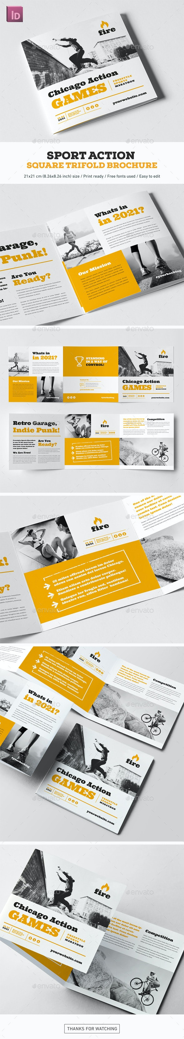 Sport Action Square Trifold Brochure - Brochures Print Templates