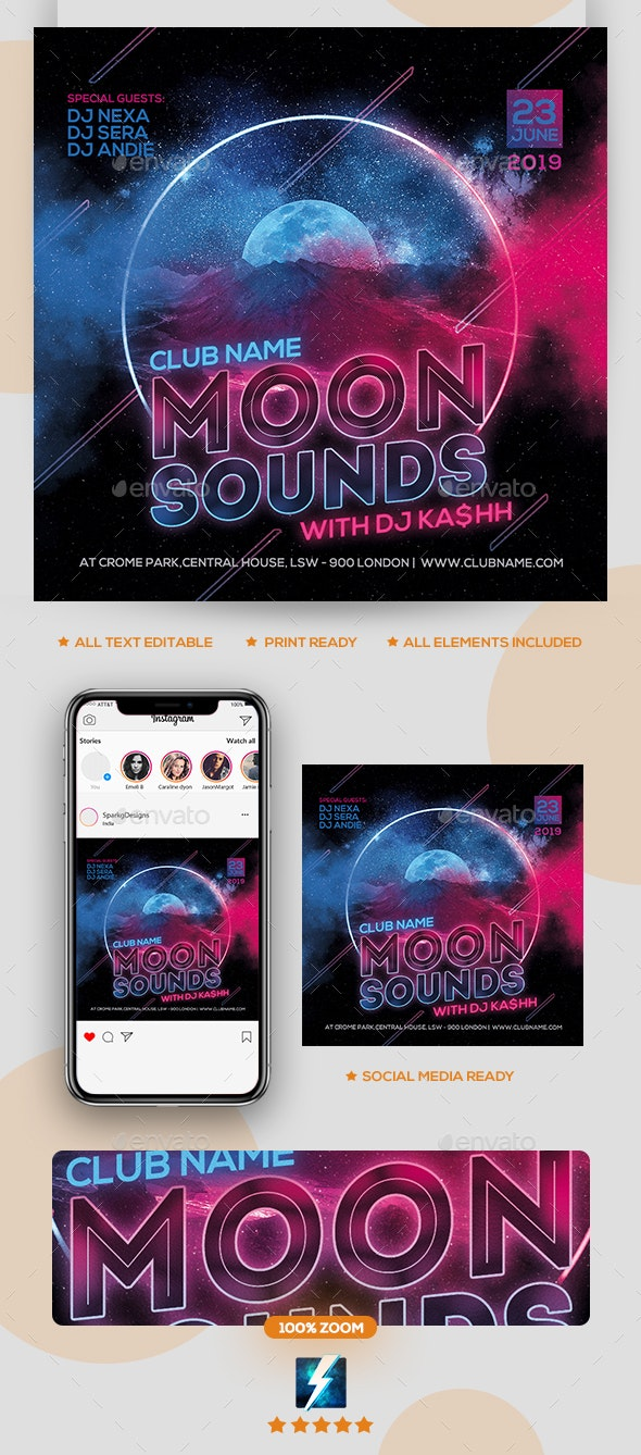 Moon Sounds Party Flyer - Clubs & Parties Events