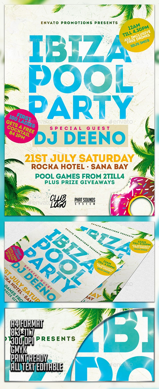 Ibiza Pool Party Flyer Template - Flyers Print Templates