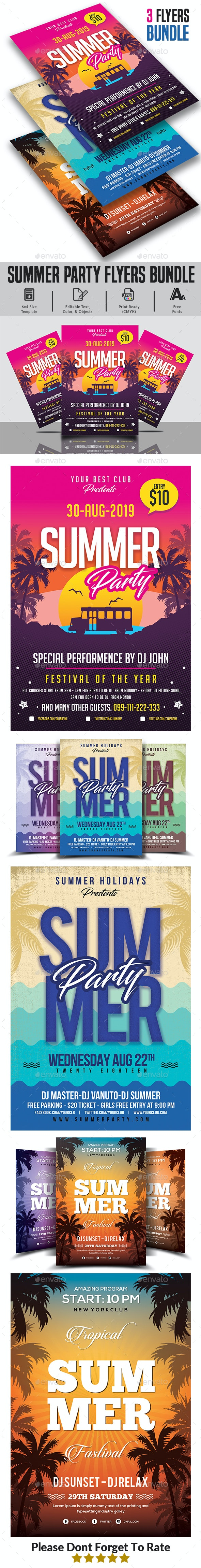 Summer Party Flyers Bundle Templates - Clubs & Parties Events