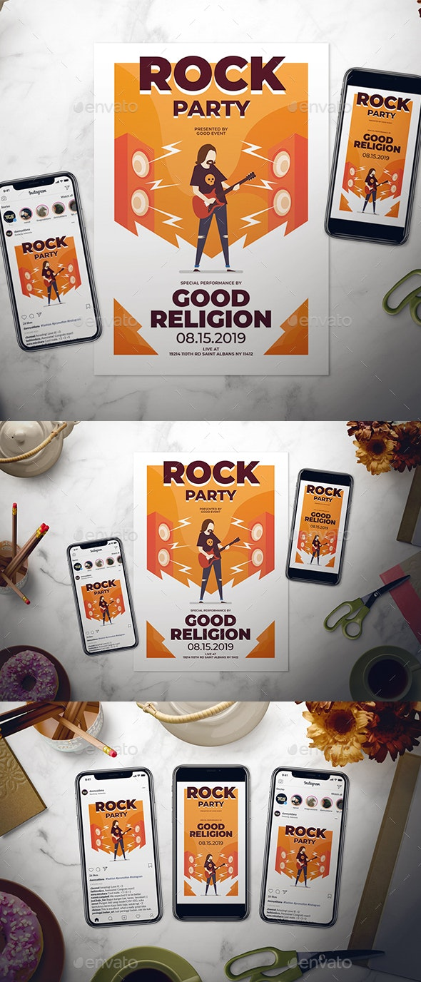 Rock Party Flyer Set - Concerts Events