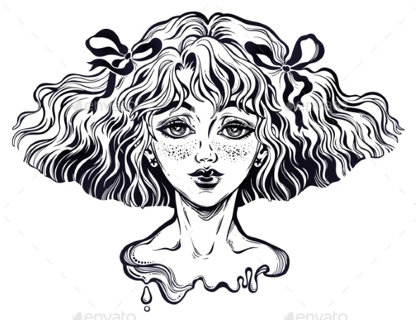 Portrait of the Girl with Wavy Hairstyle and Wind - People Characters