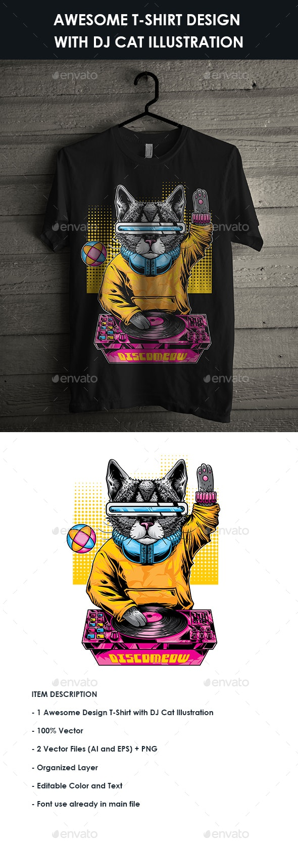 Awesome T-Shirt Design with DJ Cat Illustration - T-Shirts