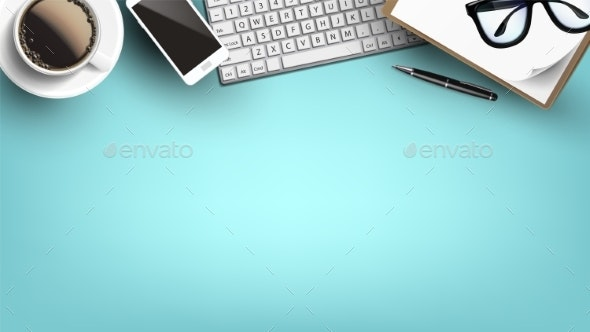 Office Table Desk With Supplies Flat Lay Vector - Man-made Objects Objects