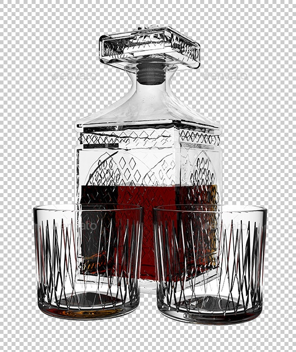 Decanter with Cognac - Objects 3D Renders