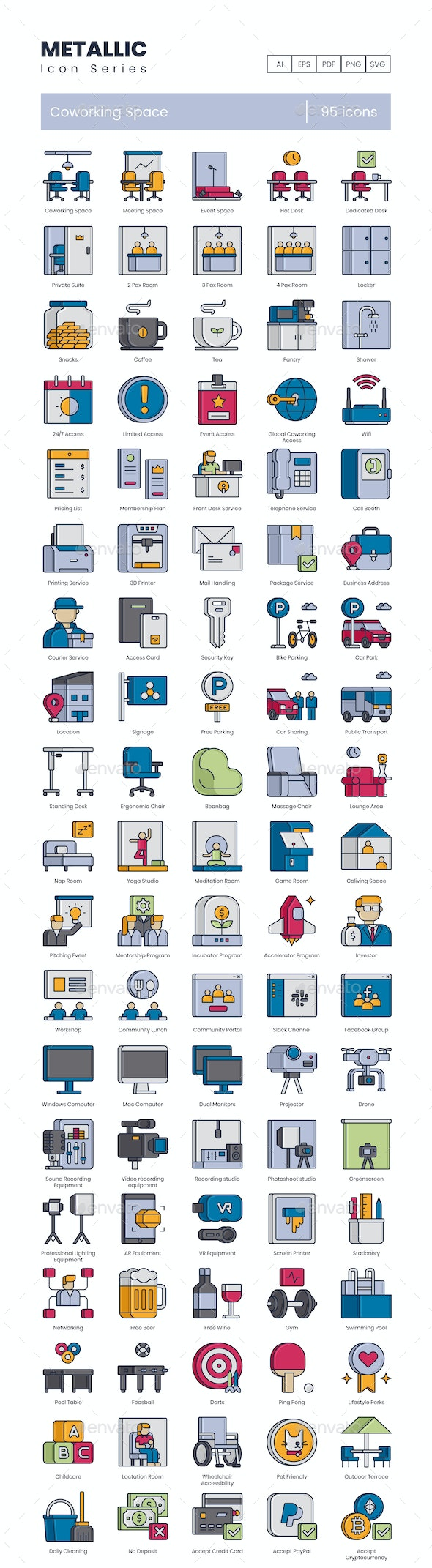 Coworking Space Icons - Metallic - Business Icons