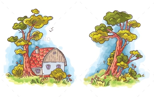 Cartoon House in the Woods, Colorful Clip Art - Buildings Objects