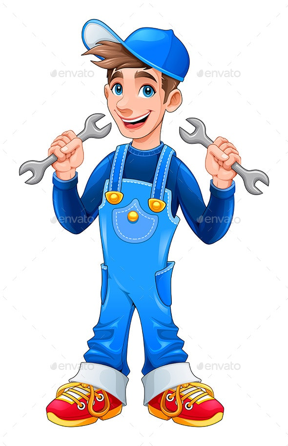 Young Mechanic with Monkey Wrenches in His Hands - People Characters