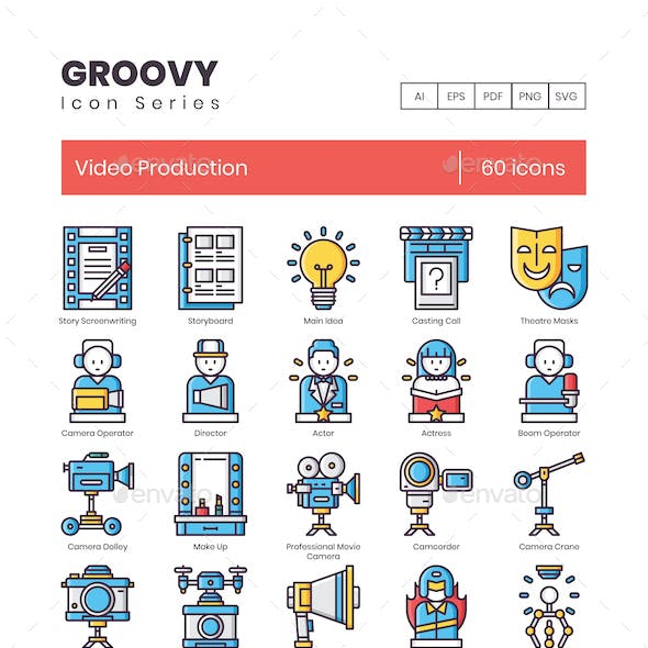 Video Production Icons - Groovy Series