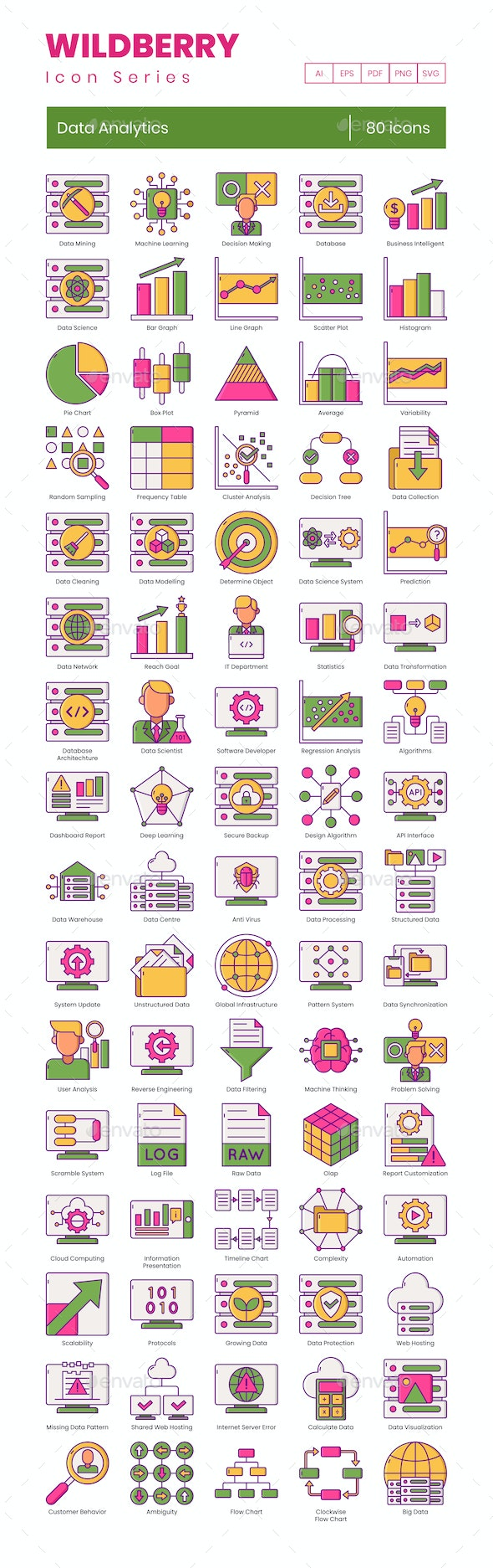 Data Analytics Icons - Wildberry Series - Technology Icons