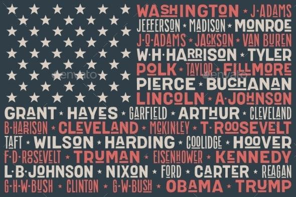 USA Flag of President Names - Miscellaneous Vectors
