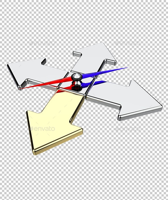 Arrow of the Compass Indicates Direction - Objects 3D Renders