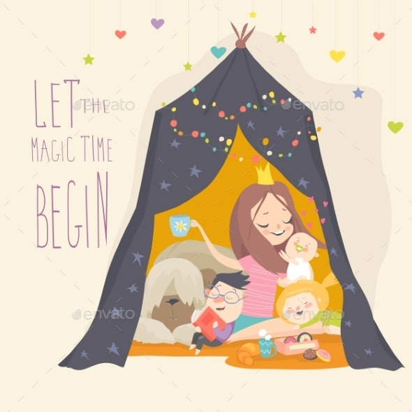 Mum and Her Kids Playing in a Tepee Tent - People Characters