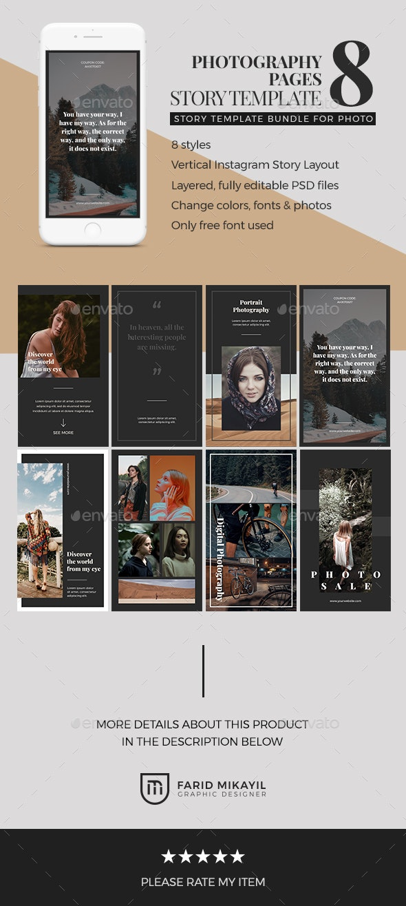 Photography Page Story Template - Social Media Web Elements