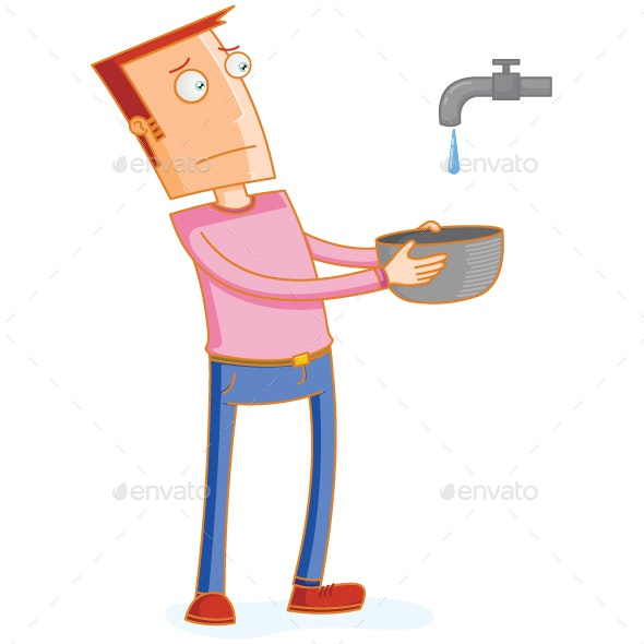 Man Waiting for a Water Drop from a Faucet - Man-made Objects Objects