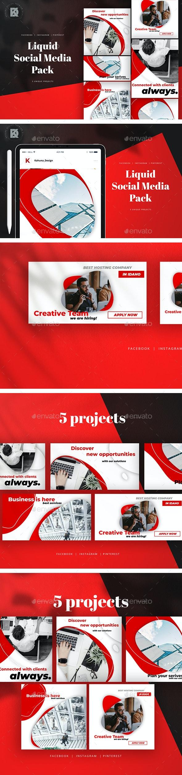 Liquid Social Media Pack - Social Media Web Elements