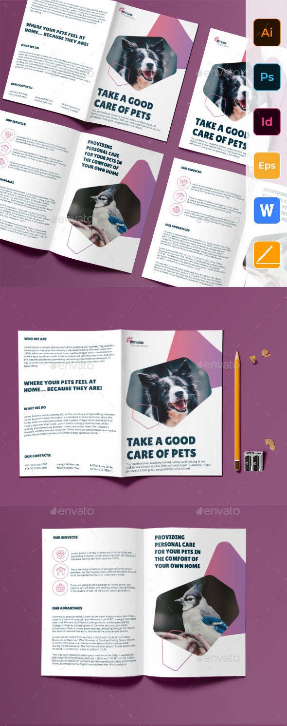 Pet Grooming Care Bifold Brochure - Corporate Brochures