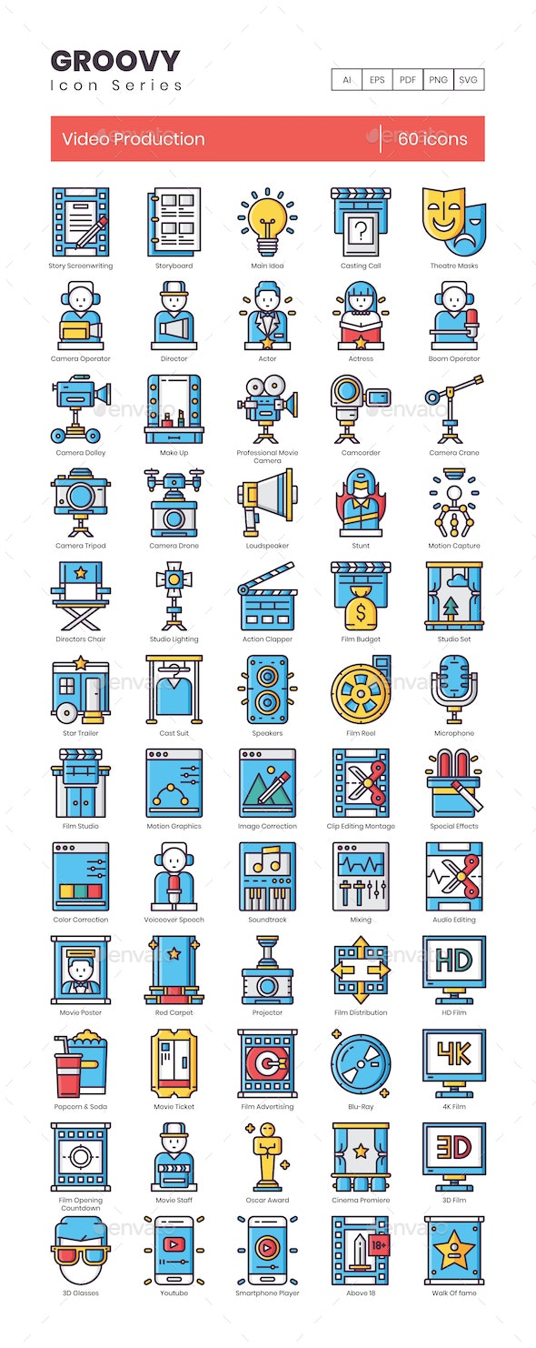 Video Production Icons - Groovy Series - Technology Icons