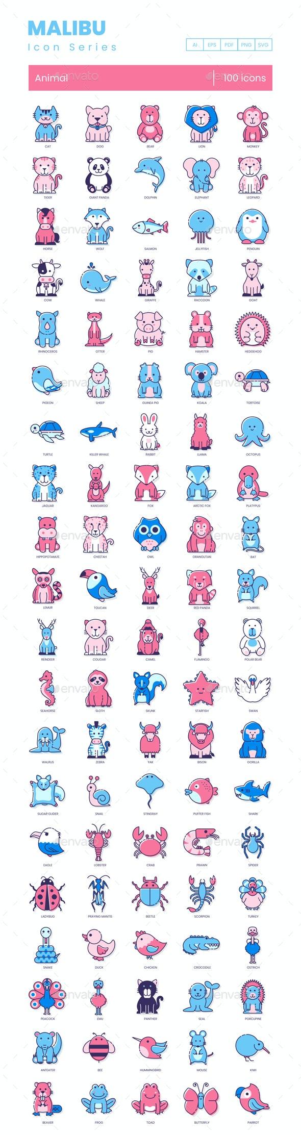 Animal Icons - Malibu Series - Animals Characters