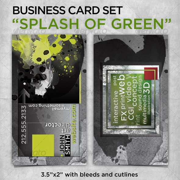 """business card """"The Splash of Green"""" - Grunge Business Cards"""