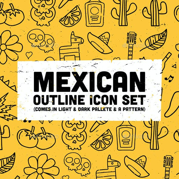Mexican Outline Icon Set